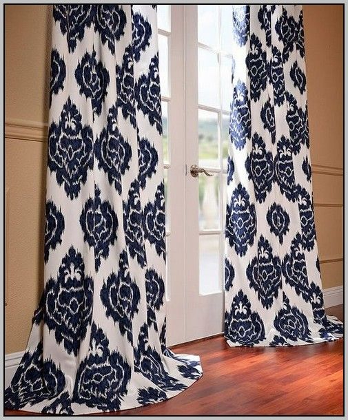 Navy Blue Geometric Curtain Panels Blue Curtains Living Room