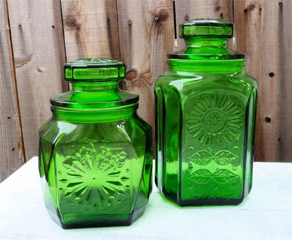 Set Of 2 Avocado Green Glass Jar Canisters For Your Retro Kitchen, Made In  Wheaton NJ