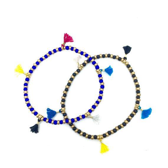 Stretch Bracelets Duo Blue and Black Bracelets by DelikaJewel