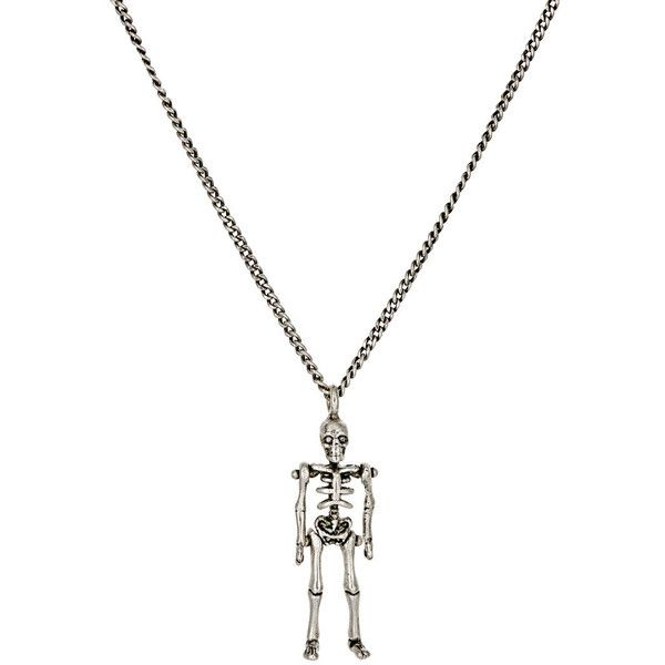 49a3b236c0c Saint Laurent PUNK Skeleton Pendant Necklace ($395) ❤ liked on Polyvore  featuring jewelry, necklaces, colorless, necklaces & pendants, skeleton  necklace, ...