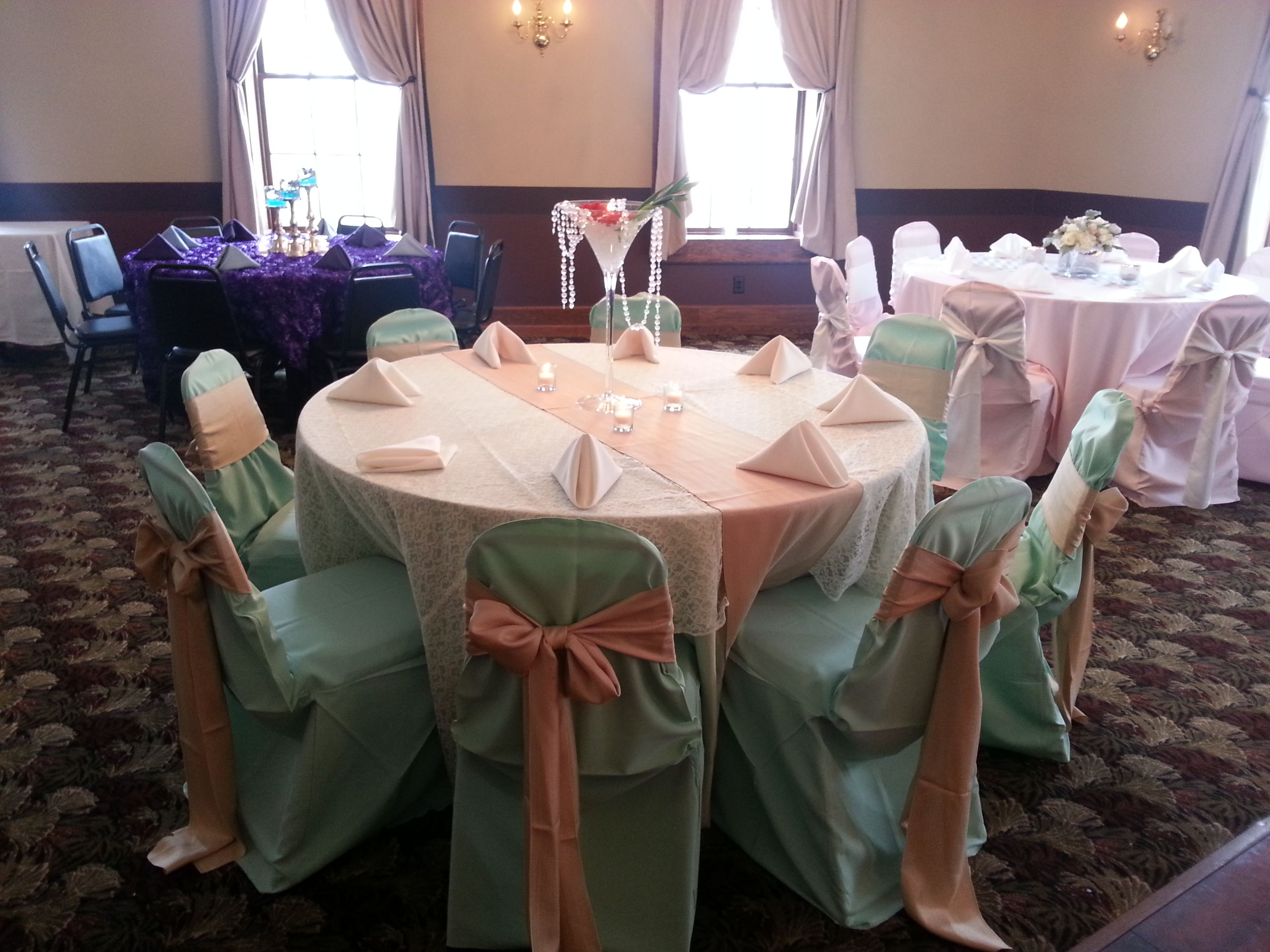 Mint Green Table Cloth With An Ivory Lace Overlay Also Includes A