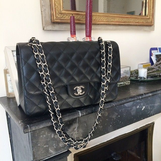 676ebded0cde Favorite bag classic: Chanel flap timeless jumbo black caviar SHW silver  hardware by yasmin_dxb instagram