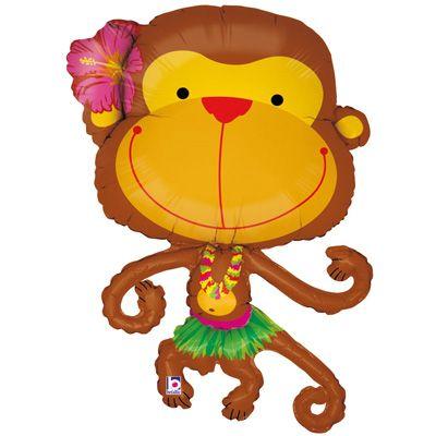 Luau Monkey In Hula Skirt Mylar Balloon Balloons Foil Balloons Mylar Balloons