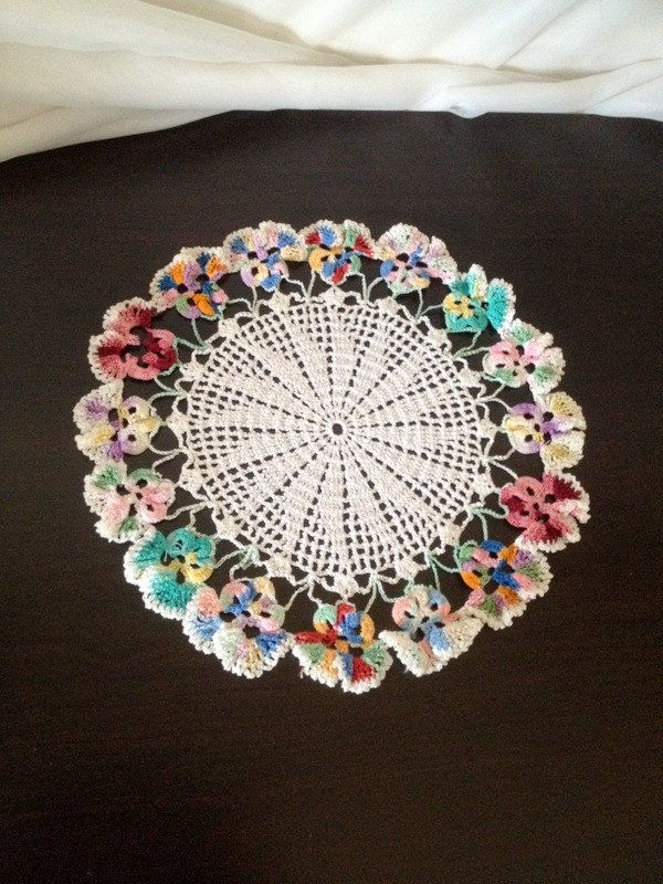 vintage Doily wth Multi Color Pansies and White Pinwheel Design ...