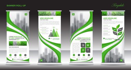 Roll up banner stand template design, Green banner layout, advertisement, stand flyer, polygon background