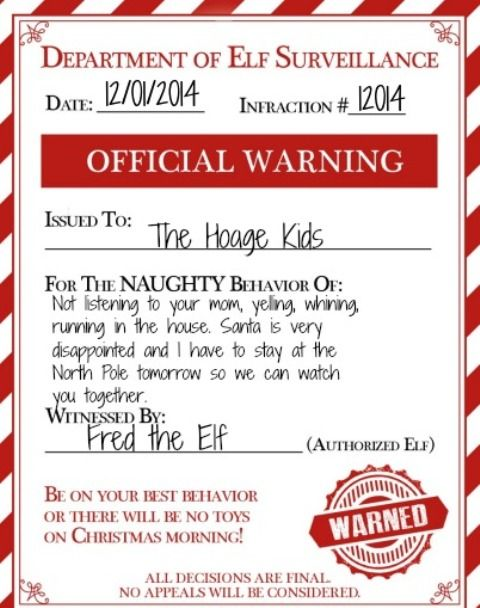 picture regarding Miranda Warning Card Printable referred to as An Elf Caution For Naughty Young children: Deliver Your Elf upon the Shelf