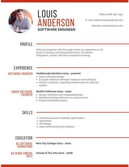 professional software engineer resume cv template01 pinterest