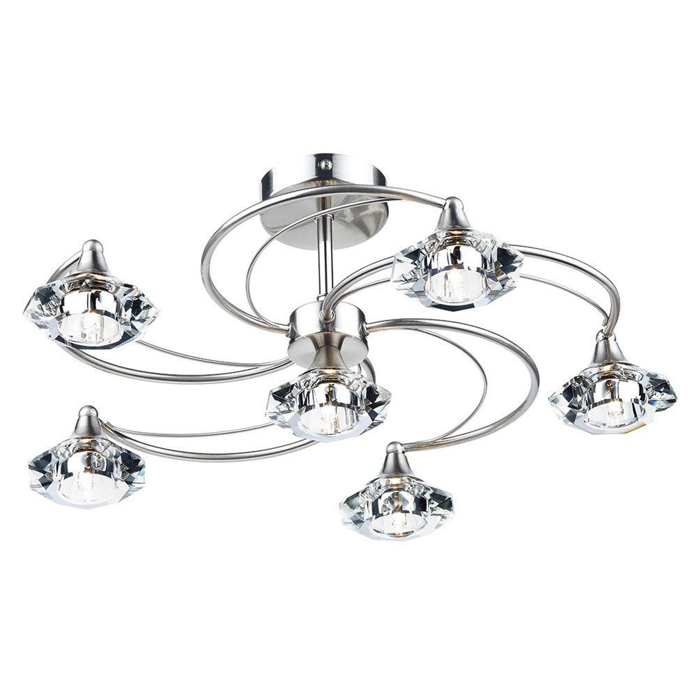 The luther semi flush ceiling light by dar has a satin chrome finish the luther semi flush ceiling light by dar has a satin chrome finish with crystal glass shades this six light fitting is perfect where ceiling height is an aloadofball Gallery