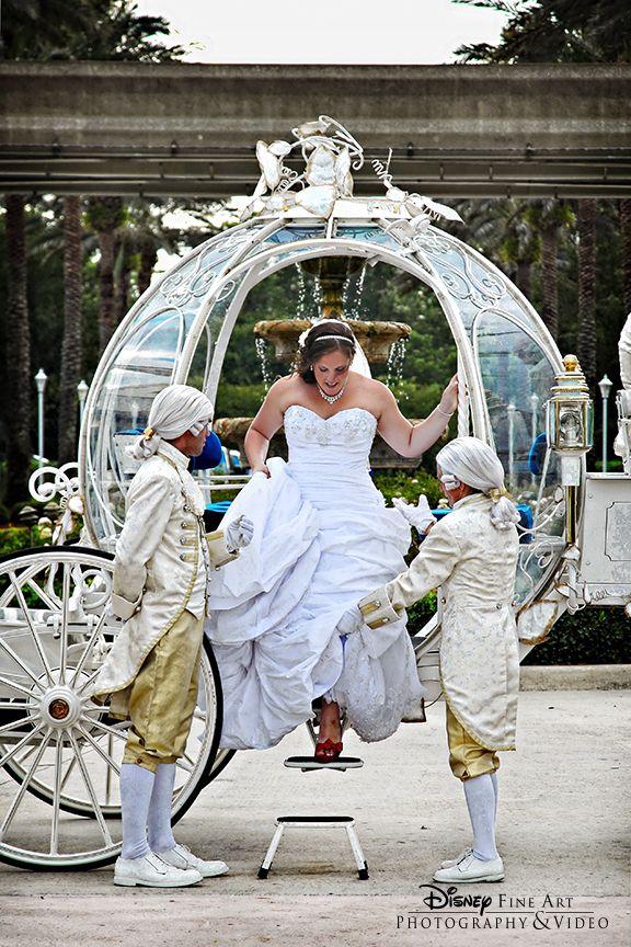 The Perfect Beginning To A Disney S Fairy Tale Wedding A Ride On Cinderella S Coach Disney Disney Fairy Tale Weddings Fairy Tale Wedding Disney Wedding