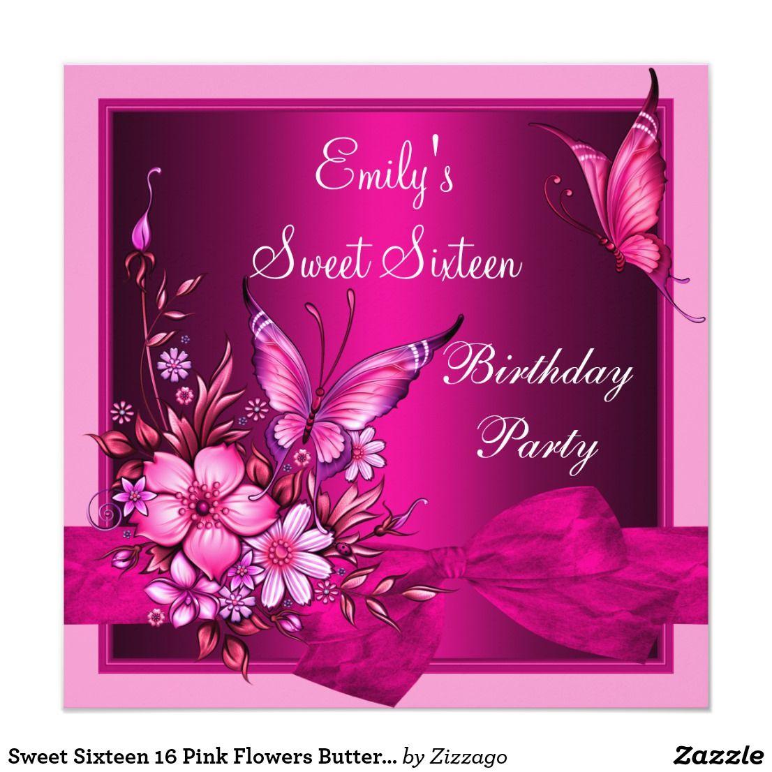 Sweet Sixteen 16 Pink Flowers Butterfly Birthday Card Butterfly