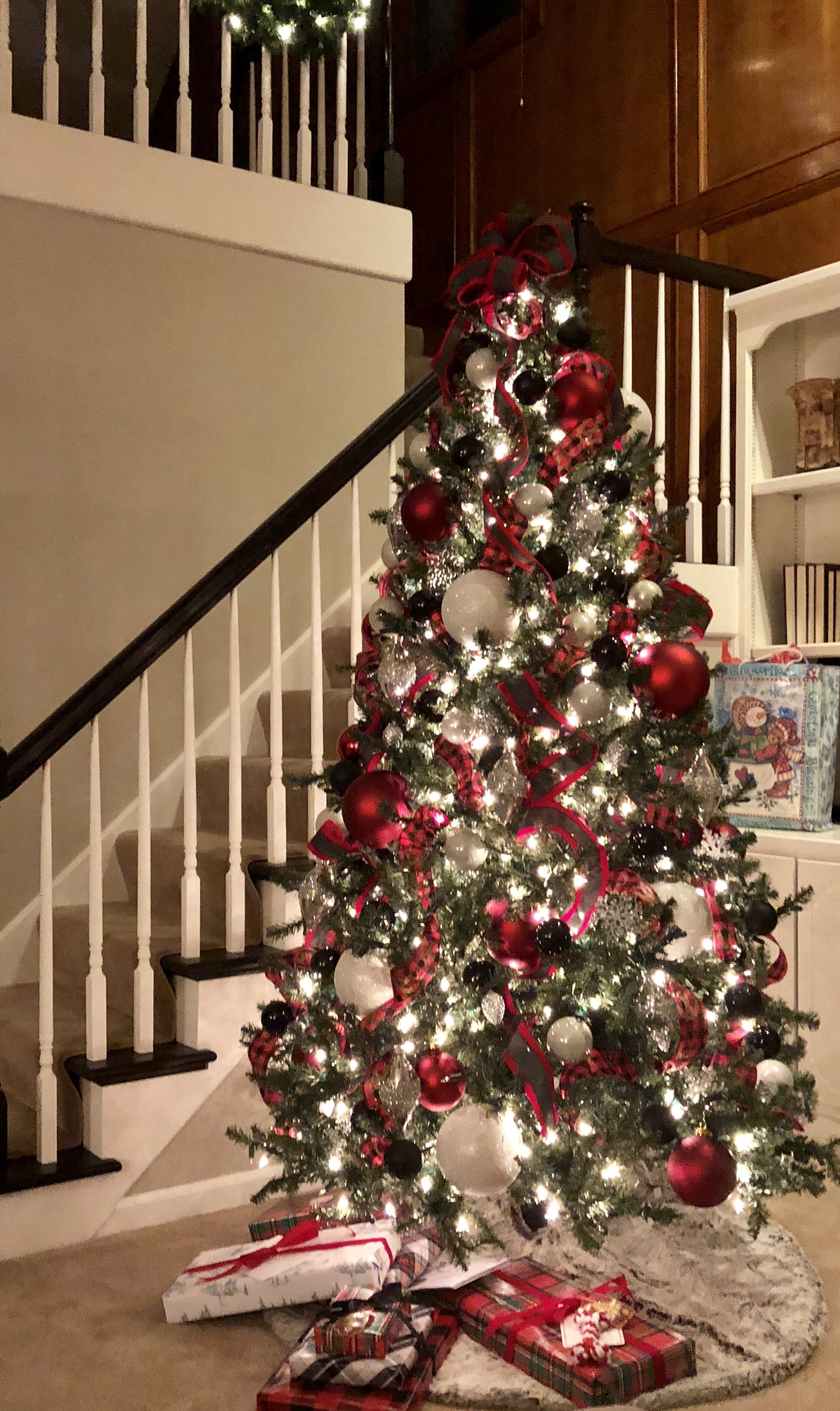 Christmas Tree In Black White Red And Gray Grey Christmas Tree Christmas Tree Inspiration Christmas Tree Decorating Tips
