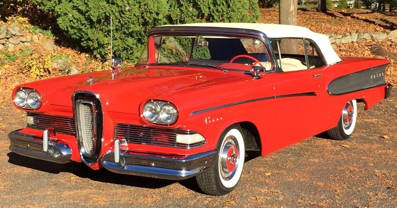 1958 Edsel Pacer Convertible in Ember Red – RARE!
