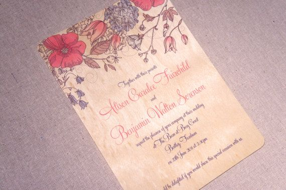 Real Wood Wedding Invitations  Pink and Blue by woodchickstudios, $10.00