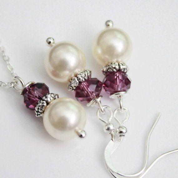 Swarovski Ivory Pearl and Dark Purple Crystal by alexandreasjewels, $14.00