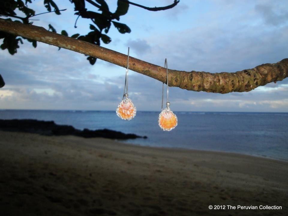 "Sunrise Shell Earrings Woven Silver Golden ""Tiger"" Sunrise Shell Earrings   eBay $135 starting bid"