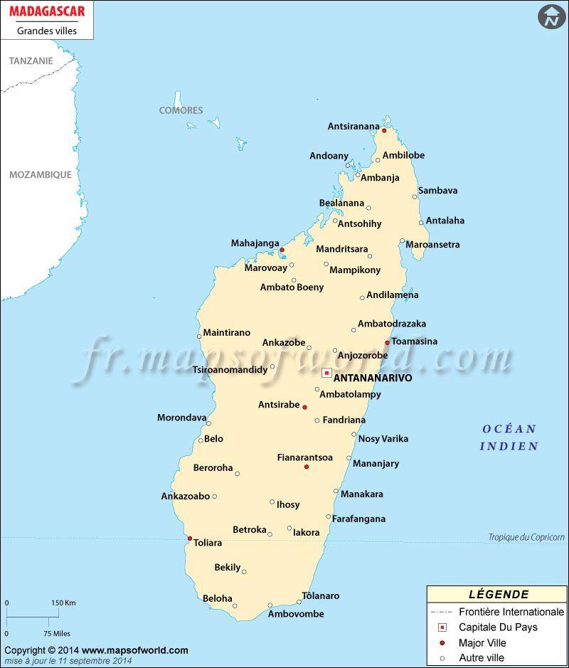 Antananarivo Madagascar Carte.Map Showing Major Cities In Madagascar Citiesinmadagascar
