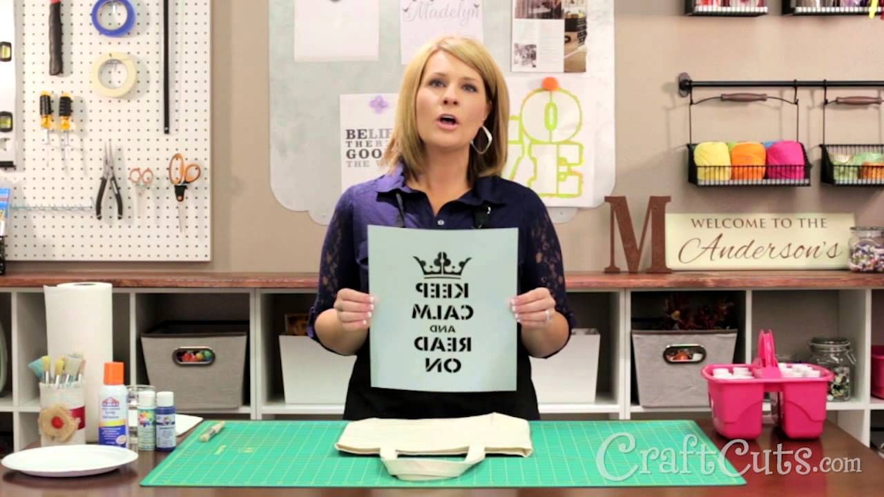 Dawn at http://www.craftcuts.com/ shows how to create a Keep Calm and Read On book bag with a custom stencil. Questions? Contact: 800-721-0566 or sales@craft...