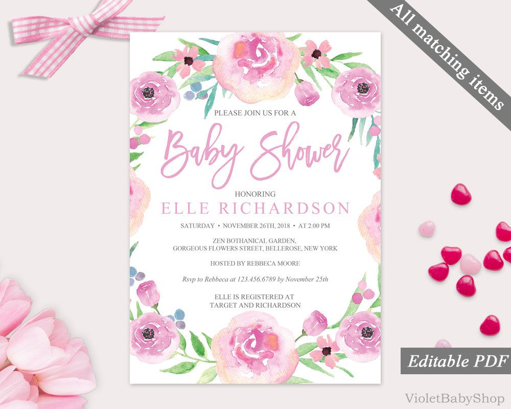 Blush Pink Card Personalized Editable Template Printable Girl Baby Shower BSBG Pink Floral Baby Shower Display Shower Card Insert Template
