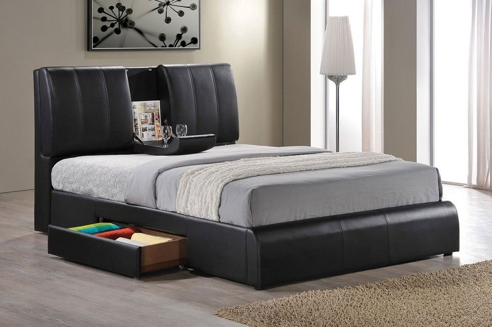 Kofi Black Leather Queen Size Bed Frame One Side Storage Drawer