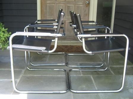 Mid Century Chrome and Leather Arm Chairs Mart Stam Style Mart