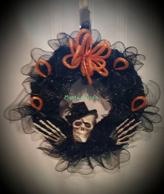 Hand made Halloween Wreath hanging decor with skeleton head and