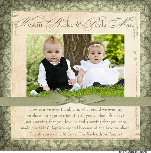 Charming Baptism Photo Thank You Card Baby Girl Damask Event
