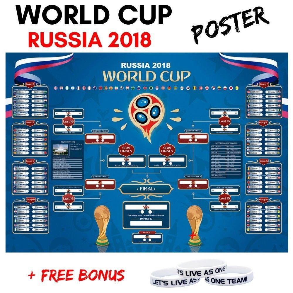 Russia world cup wall chart soccer football calendar bracket  inch discount price also rh pinterest