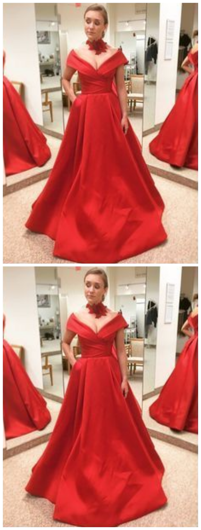 Prom Dress A-line Red Off-the-shoulder Simple dress | Red ...