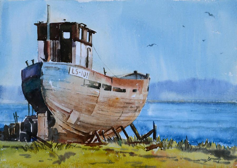 Old Fishing Boat Boat Painting Boat Drawing Watercolor