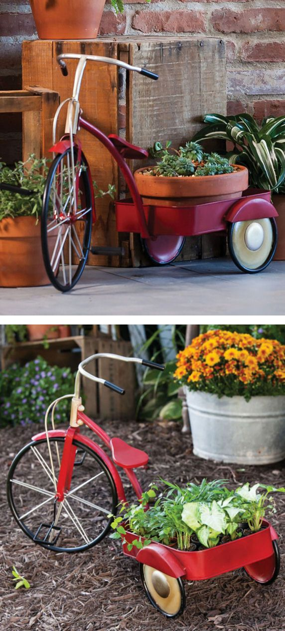 Flower Pedals Plant Stand // #tricycle #gardening #plater