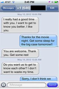 Rejection text messages