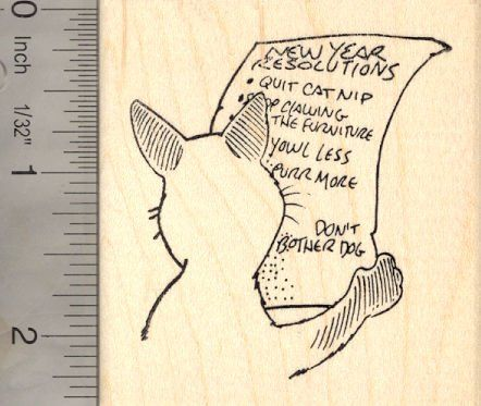 New Years Resolution Cat Rubber Stamp -- You can find more details by visiting the image link.