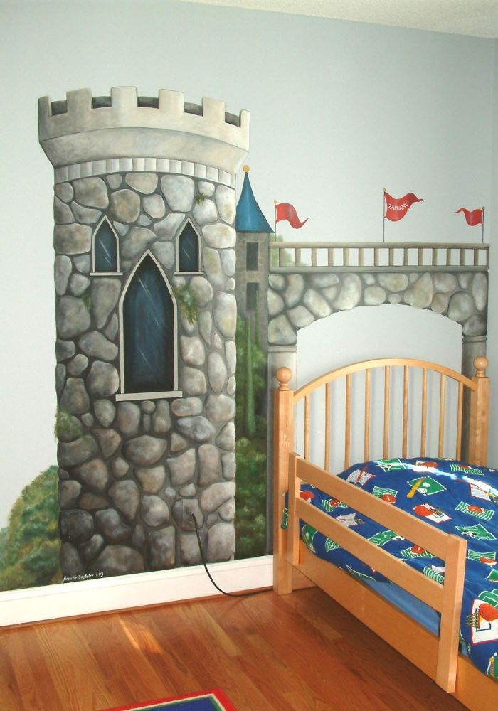 Castle tower mural trompe l oeil chambre enfant parement mural et deco chambre - Trompe l oeil chambre ...