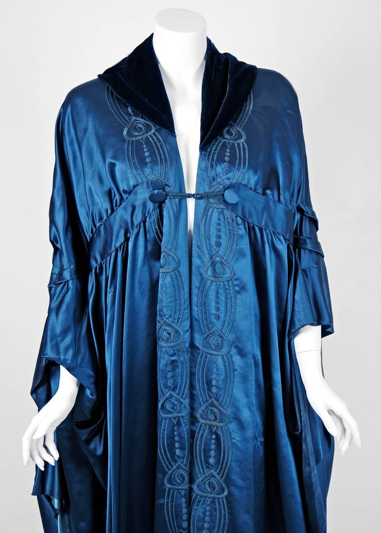1918 Liberty Couture Steel-Blue Embroidered Silk Art-Nouveau Draped Coat Cape image 3