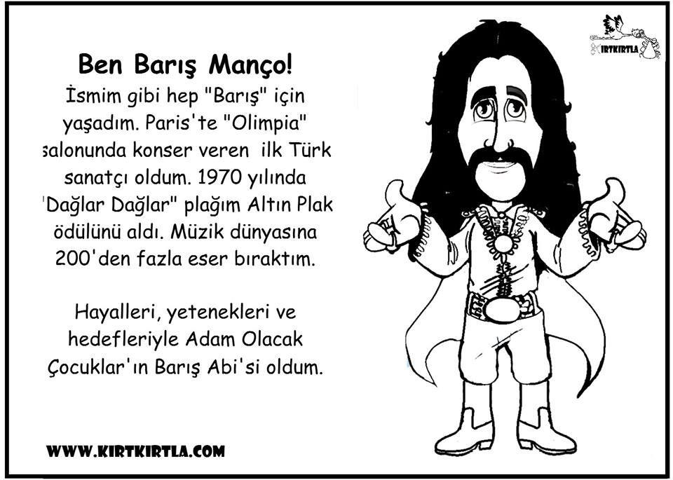 Bariş Manço Boyama Ve Bilgi Sayfasi Türk Büyükleri Preschool