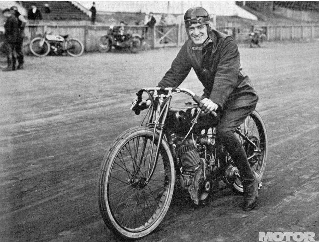 """1920 Daytona Beach Leslie """"Red"""" Parkhurst On Harley"""