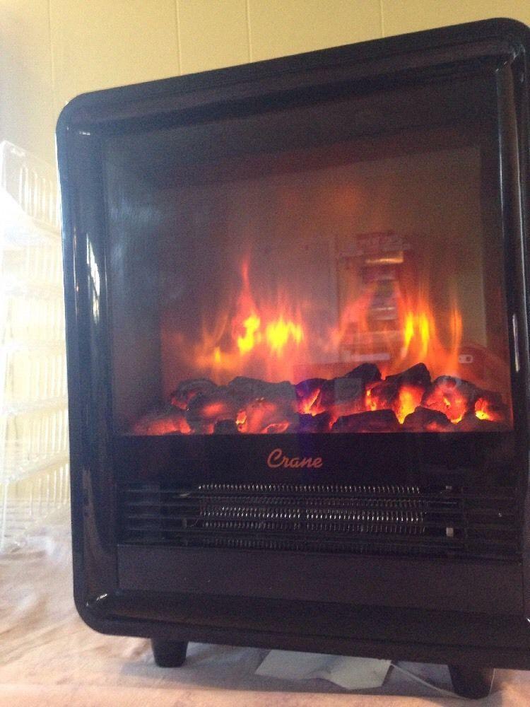 Crane Fireplace Portable Space Heater Black Ee 8075bk Crane