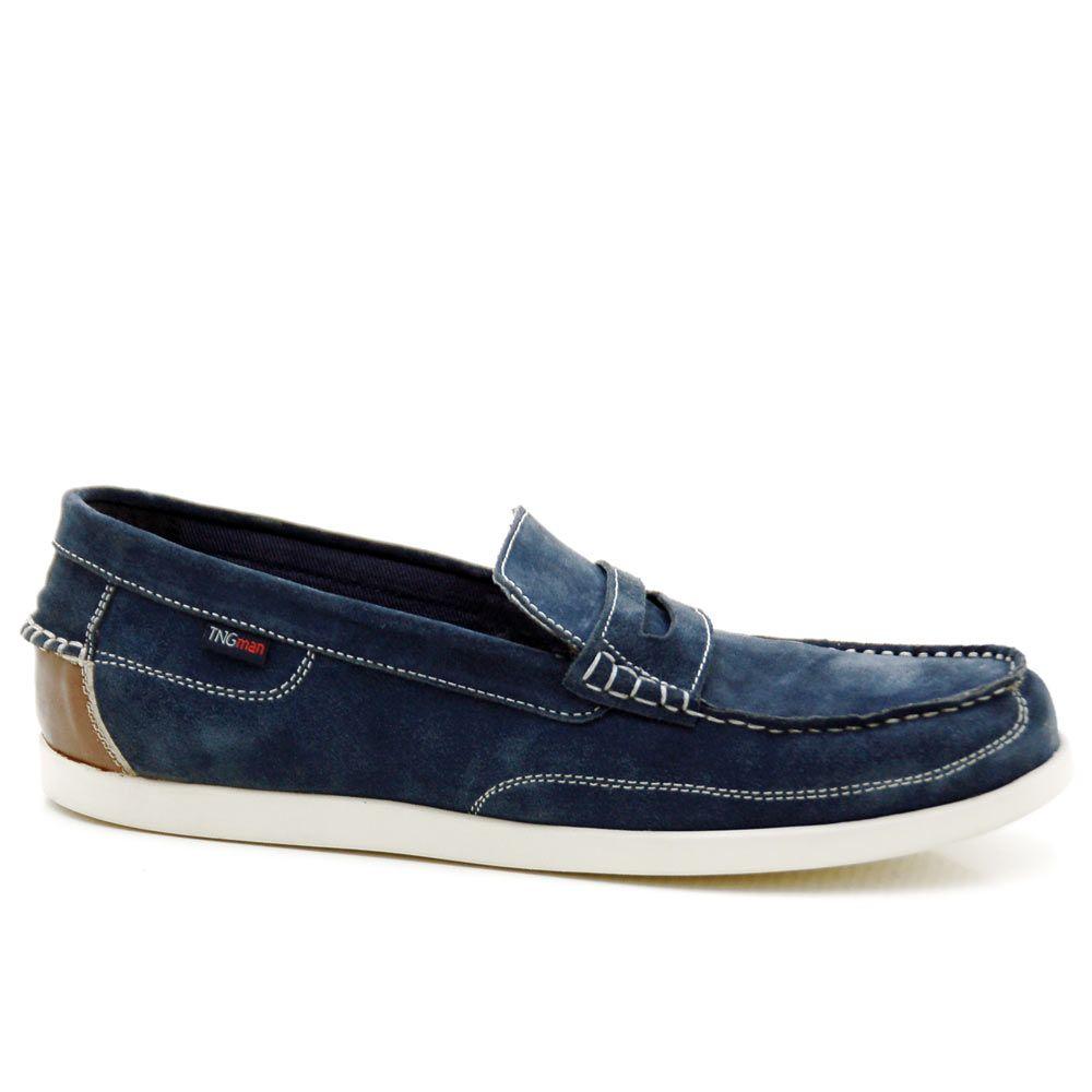 Para hombre tipo Mocasín piel Lace Up Zapatos de barco, color Marrón, talla 43,5