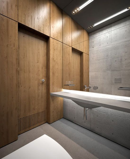 Azure office 9 cubicle toilet and concrete for Office bathroom design
