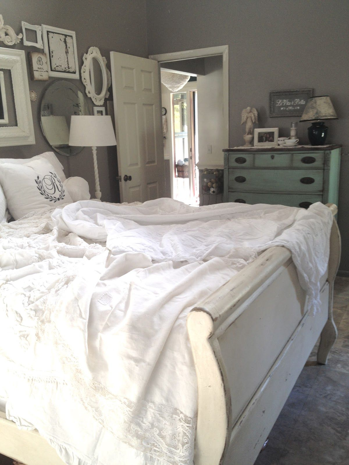 White linens, gray walls. I love this so much!! My walls