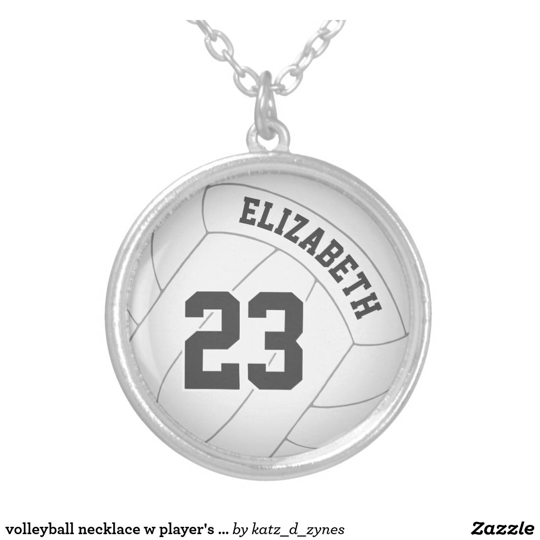 Volleyball Necklace W Player S Name Jersey Number Zazzle Com Volleyball Necklace Volleyball Jewelry Volleyball