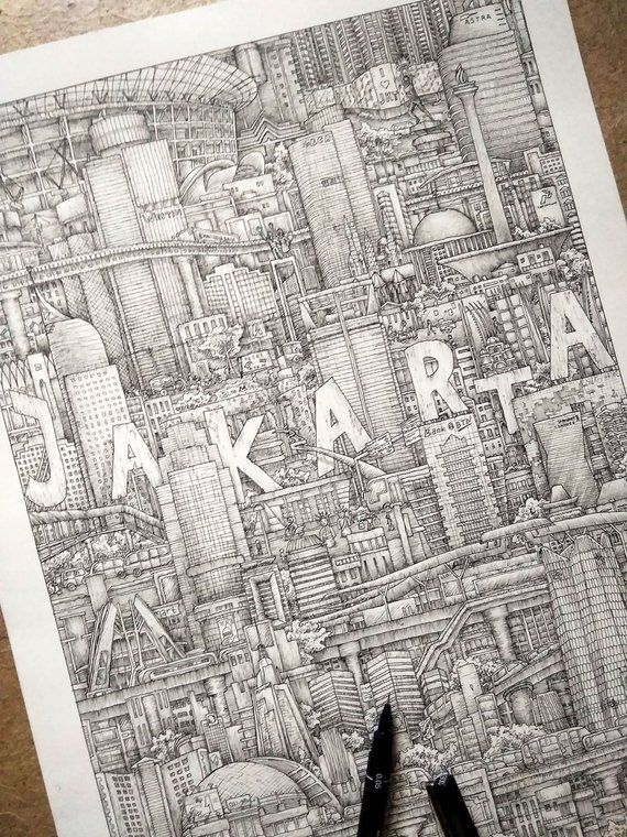 Jakarta Prints Indonesia City Art Detailed Drawing Hand