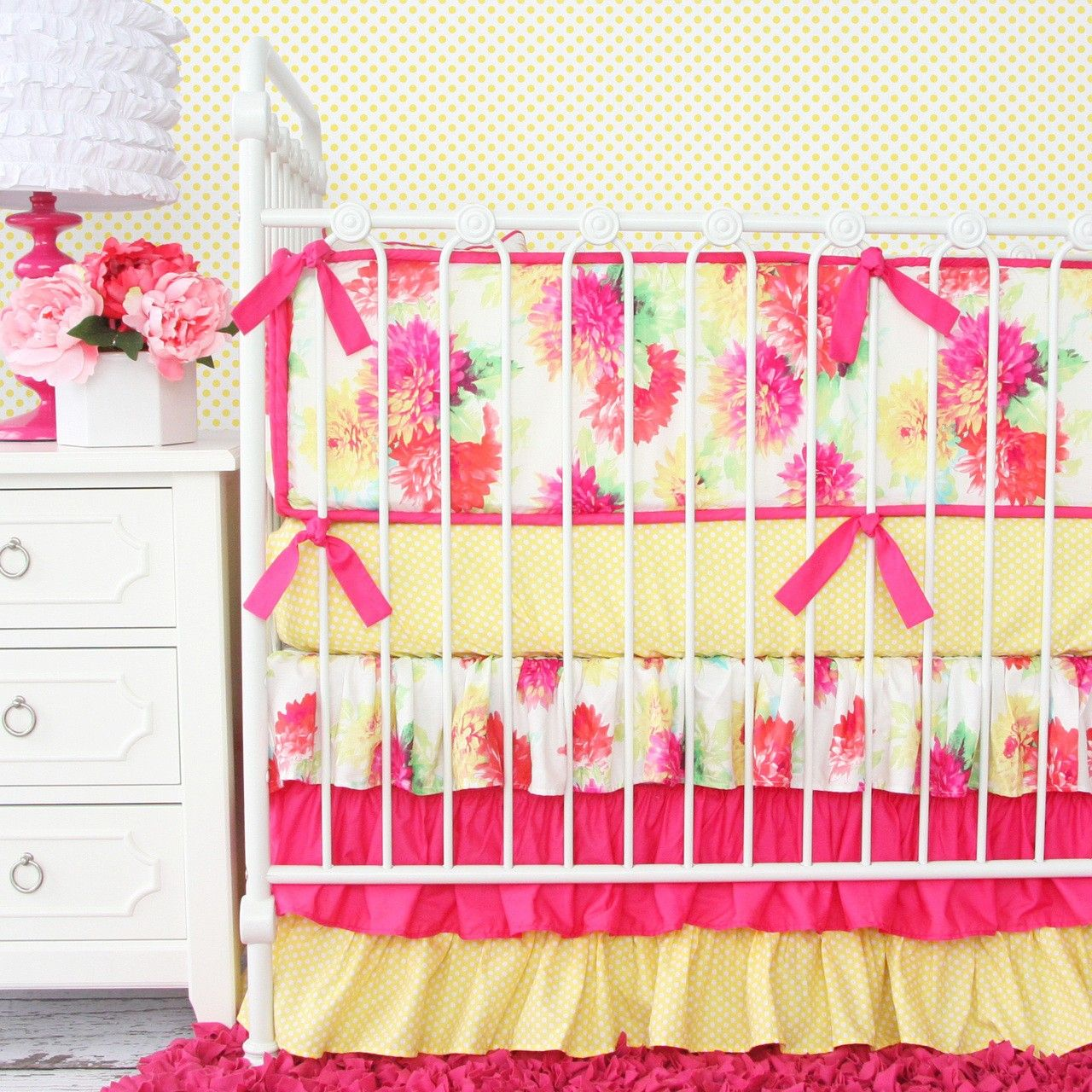 Caden Lane Lemon Drop Floral Crib Bedding Collection. Product in photo is from www.wellappointedhouse.com