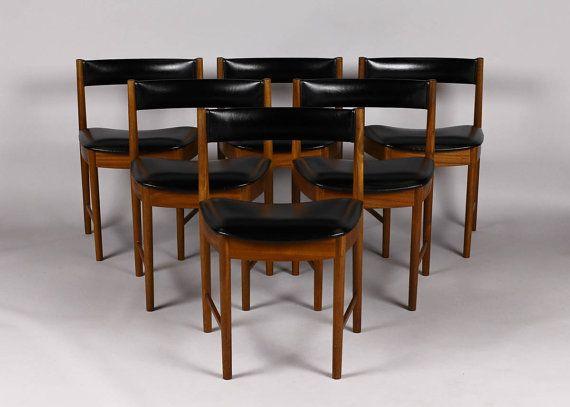 Danish Modern Mid Century McIntosh Dining Chairs Teak Black Vinyl Upholstered Seats
