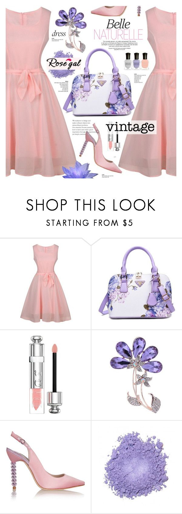 """Rosegal 5 - Vintage dress"" by cly88 ❤ liked on Polyvore featuring Christian Dior, Sophia Webster, Deborah Lippmann and vintage"