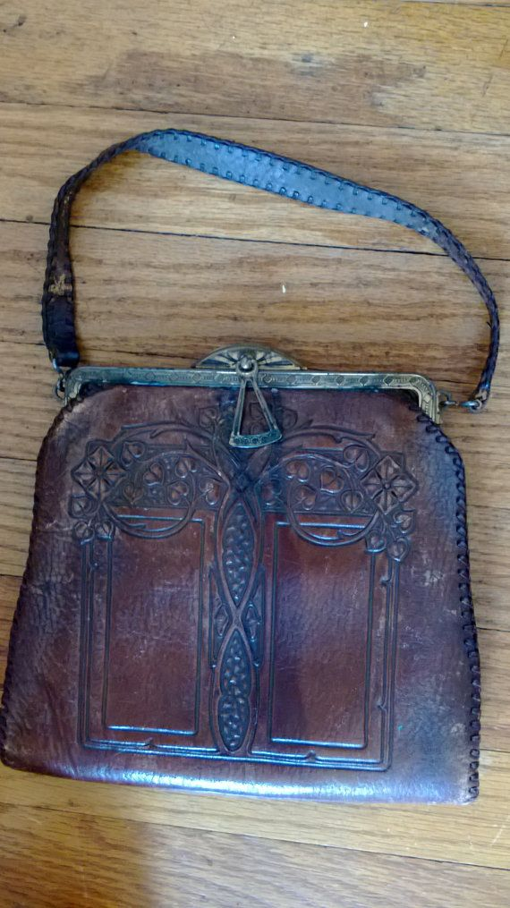 Art Deco Leather Hand Tooled Vintage Purse Pouch Back