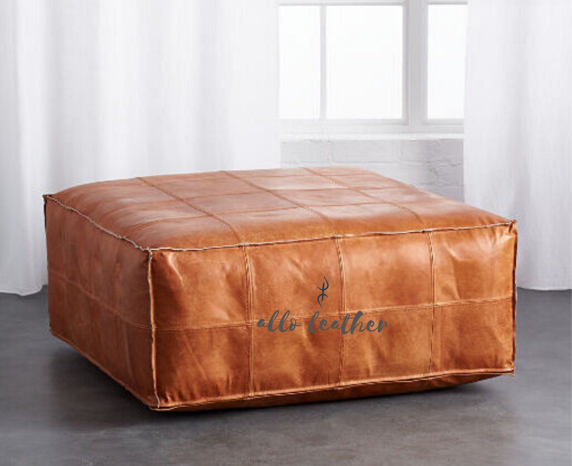 Square Moroccan Pouf Footstool Leather Pouf Tan Leather Ottoman
