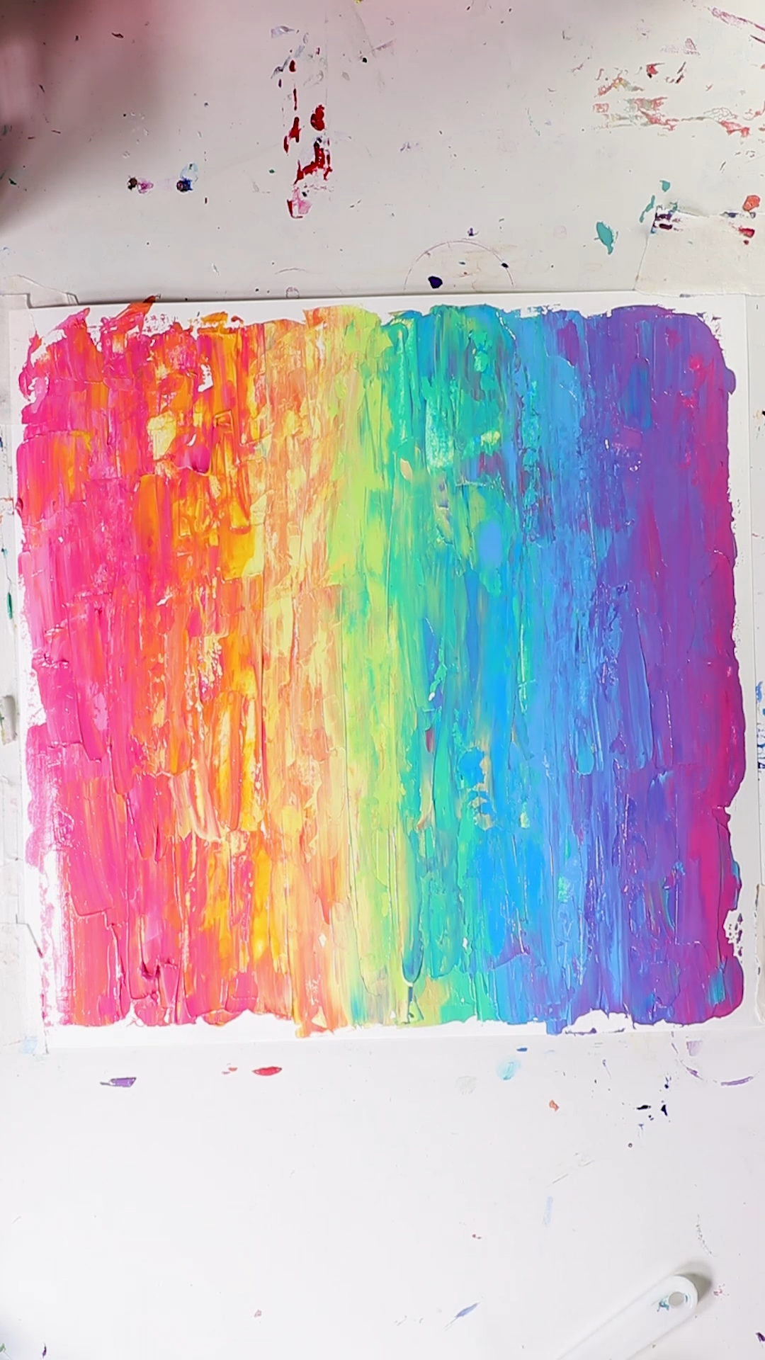 Fun Acrylic Painting Rainbow with Palette Knife