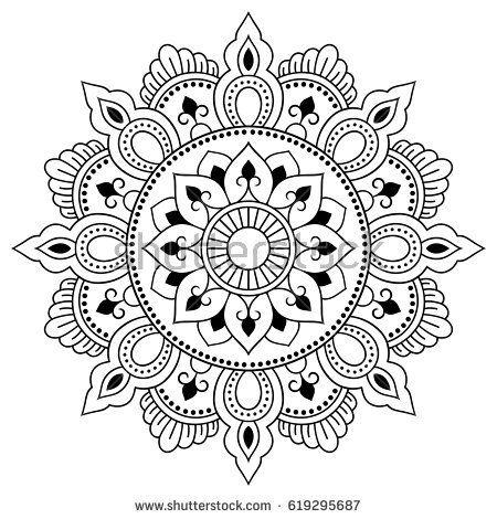 Henna tatoo mandala. Mehndi style. Decorative pattern in oriental ...