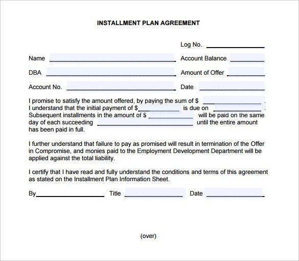 Payment Plan Agreement Template Free Word Pdf Documents  Home